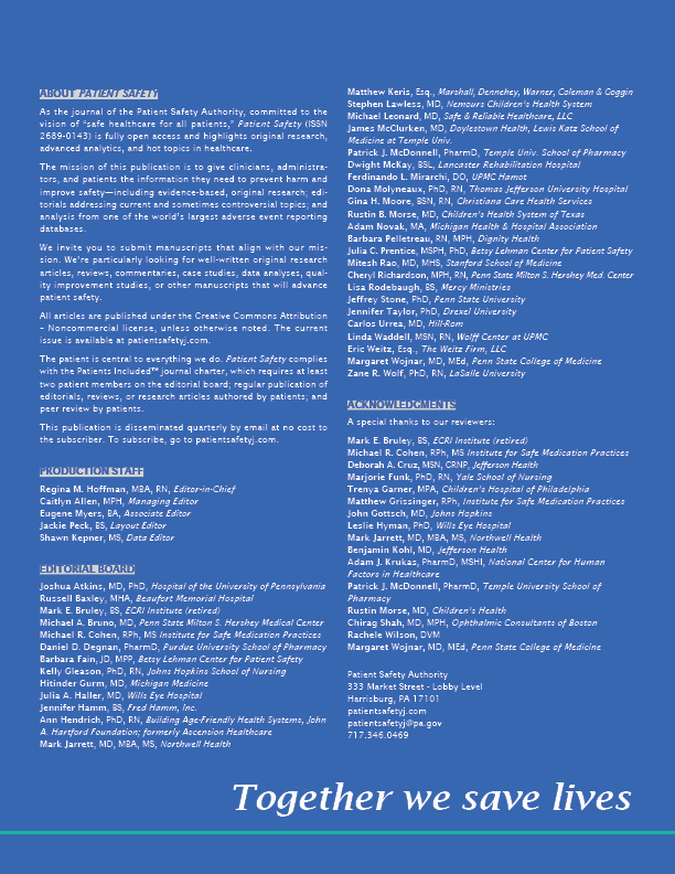 About PSA. List of all staff, editorial board, and acknowledgements.