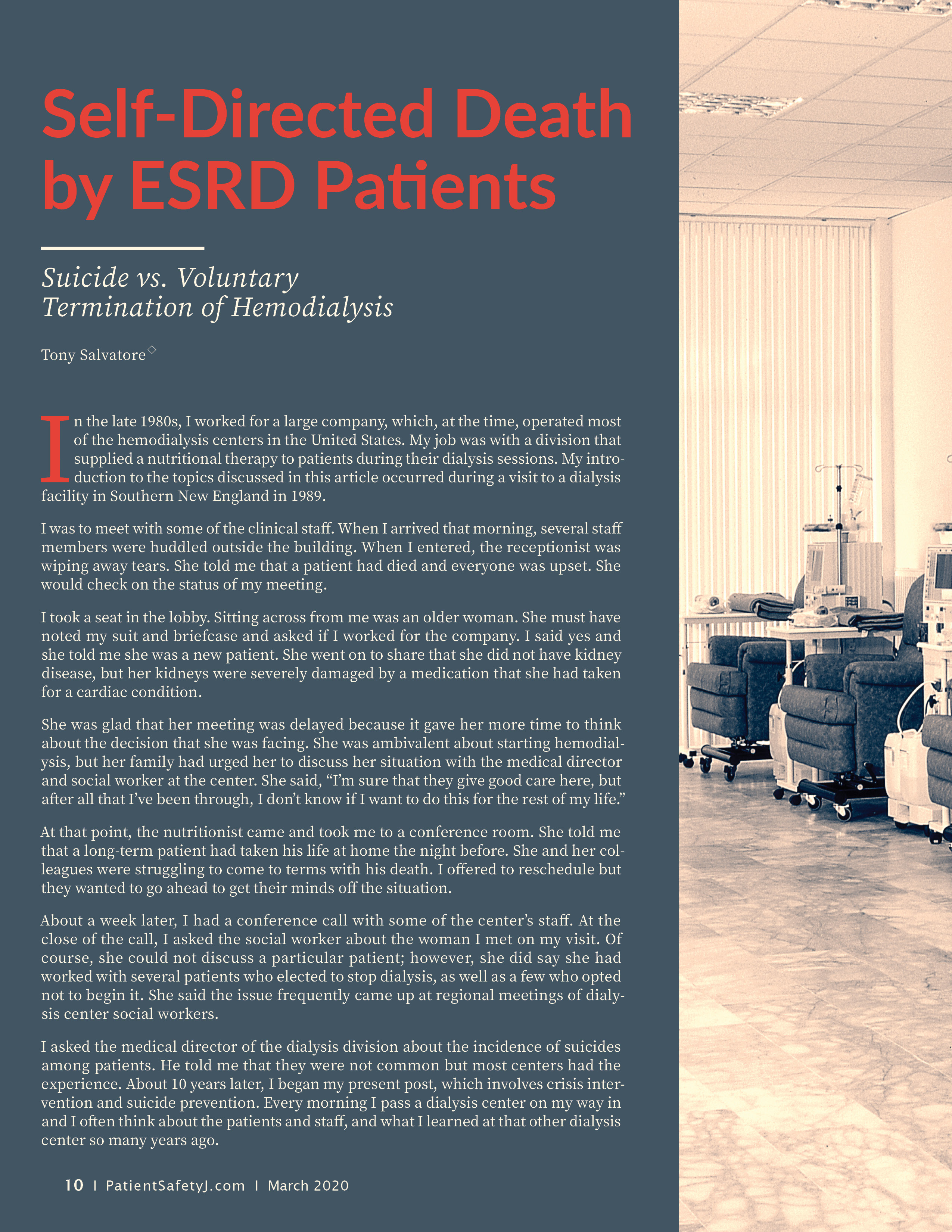 ESRD Patients, hemodialysis chairs lined up.