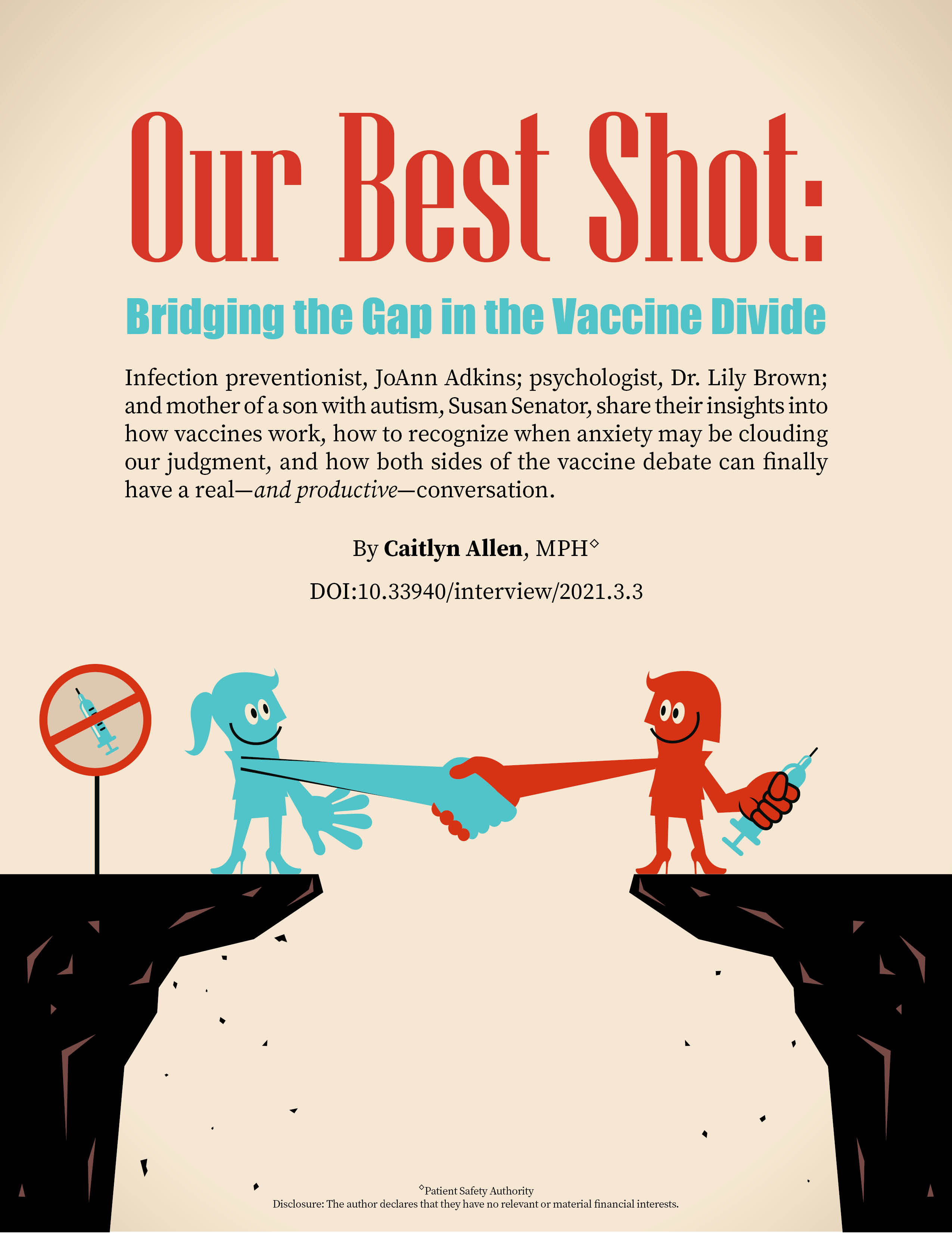 Two women cartoon characters standing on cliffs, one with a syringe (vaccine) in her hand.