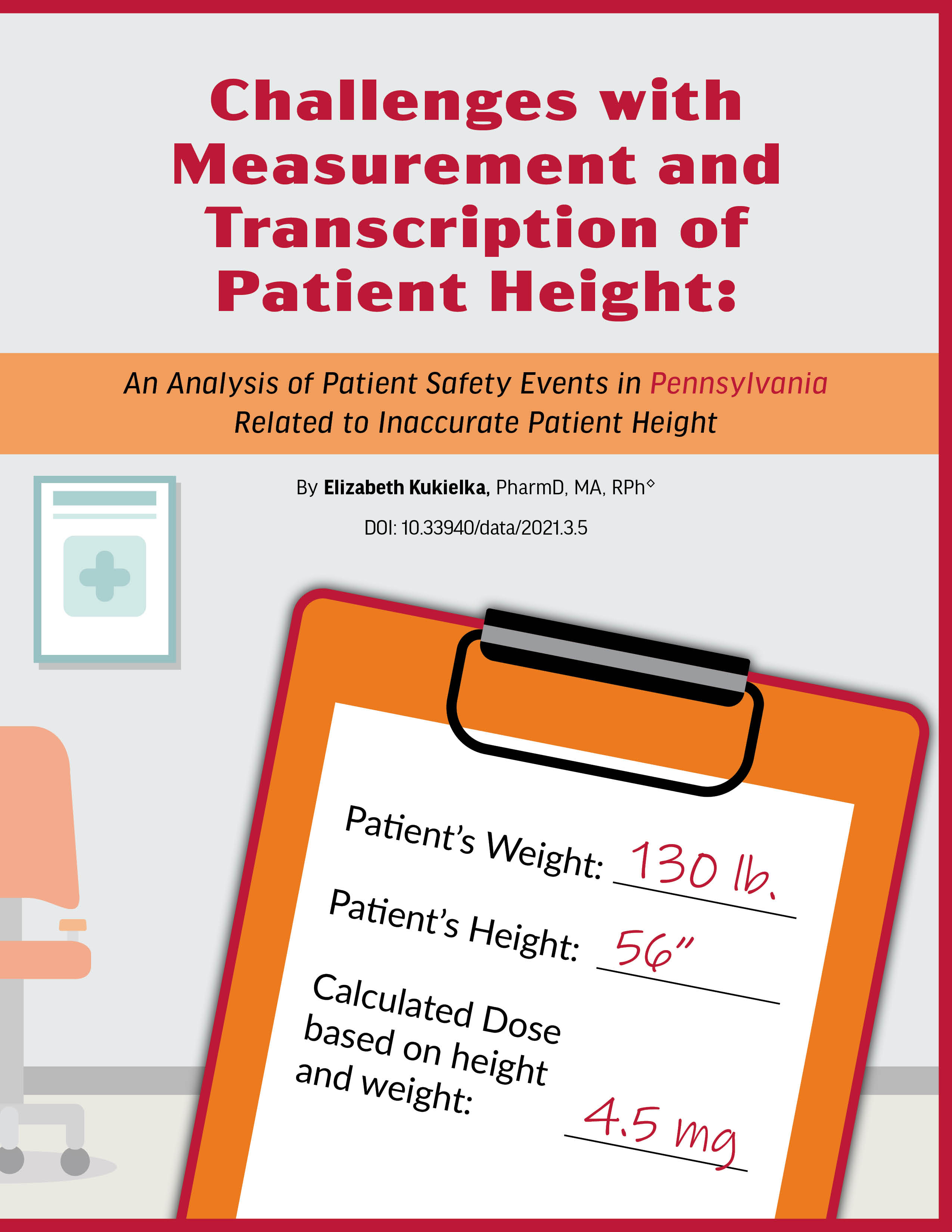 patient chart with weight, height and medication dose, with waiting room in background