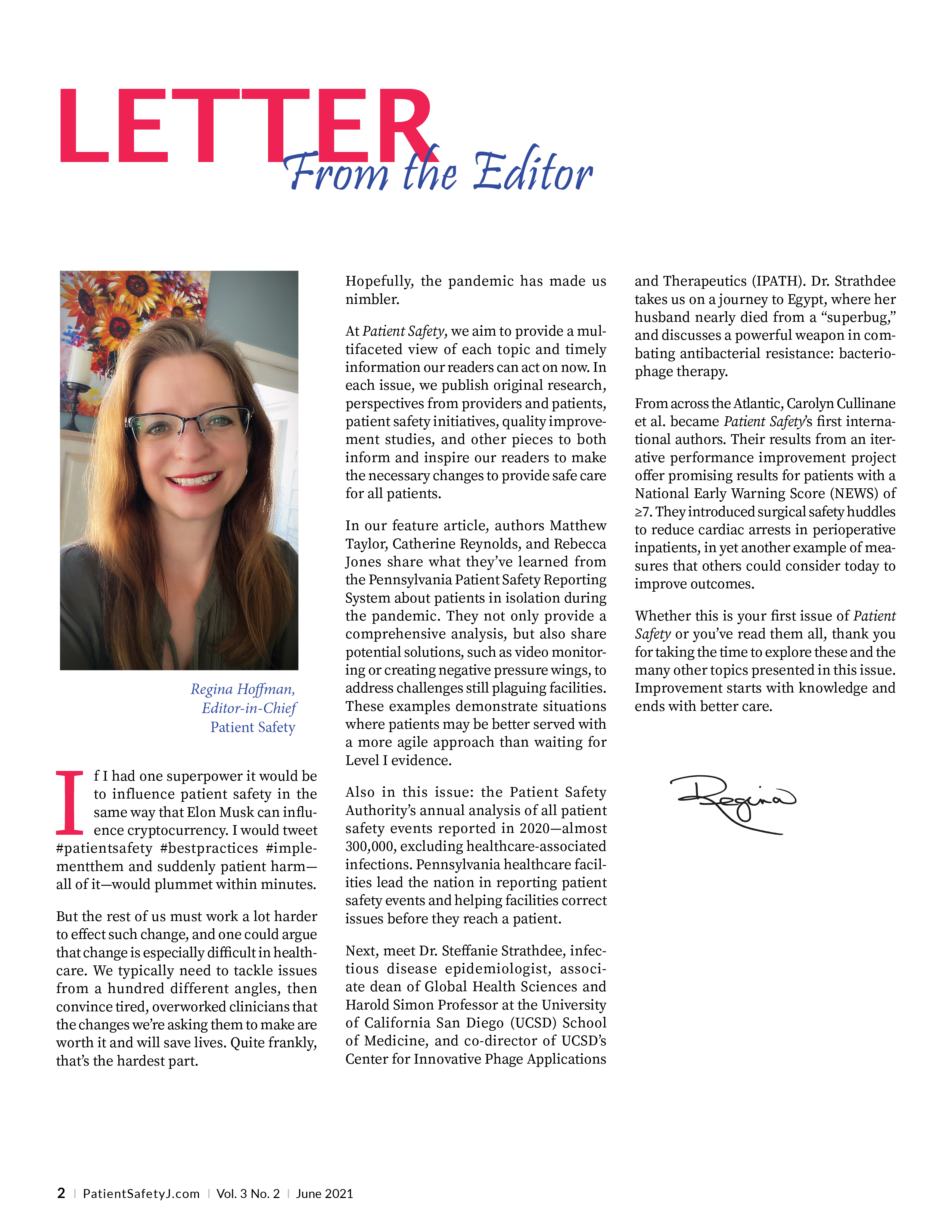 Editor, Regina Hoffman, and her letter to all readers.