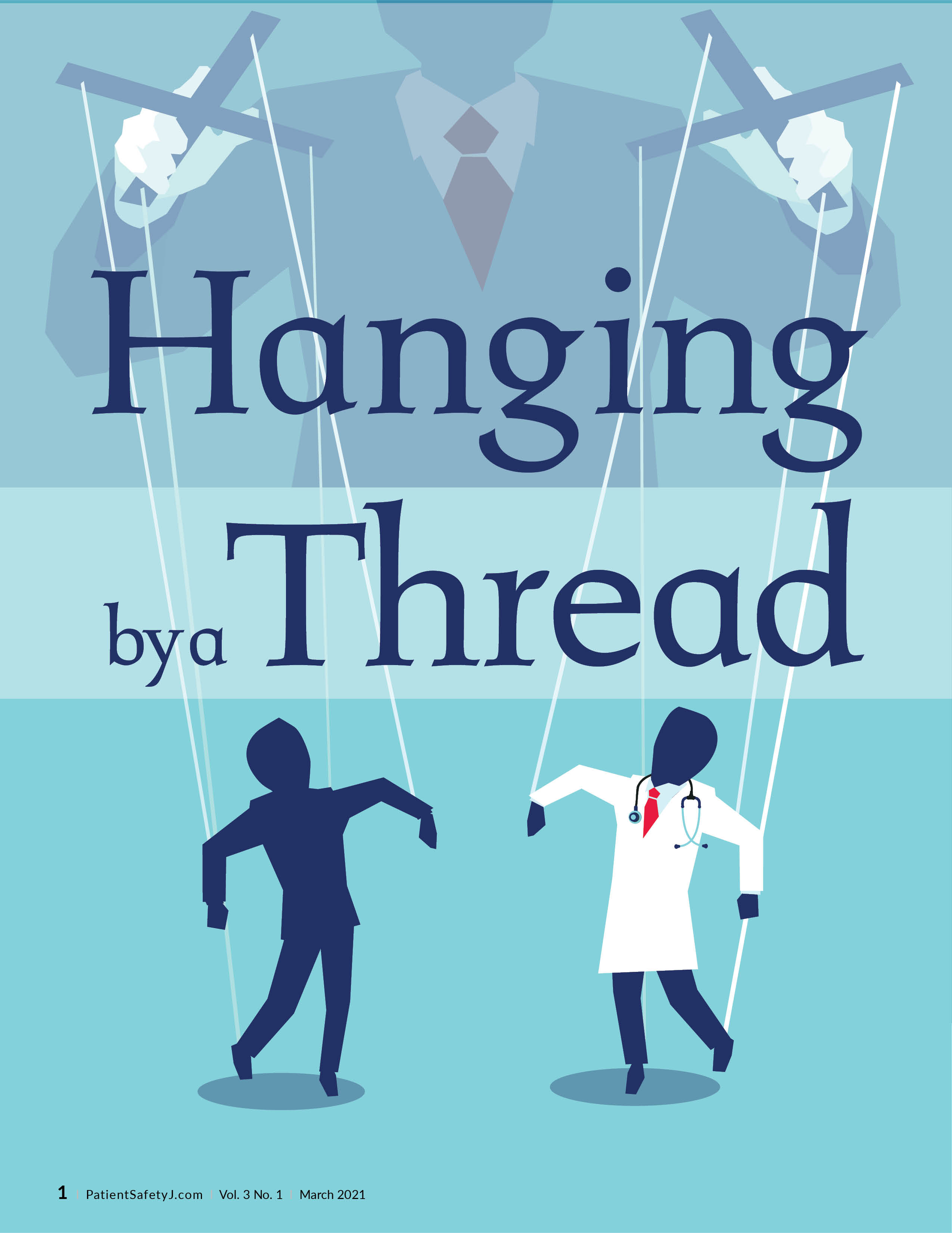 Man with two puppets hanging from strings, one a patient, the other a doctor